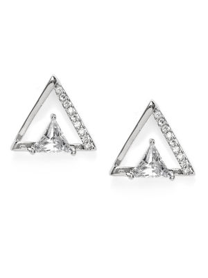 Silver-Toned Triangular Studs