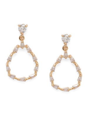 Gold-Toned Diamond Shaped Drop Earrings