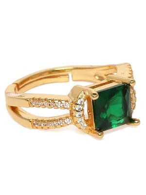 Gold-Toned & Green Stone Studded Finger Ring