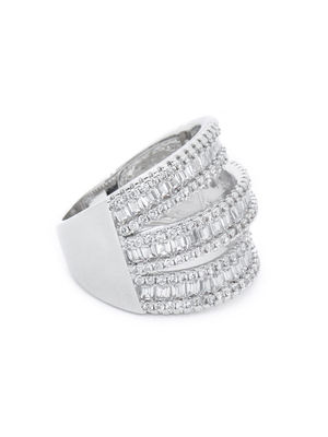Women Silver-Toned Rhodium Plated Layered Finger Ring