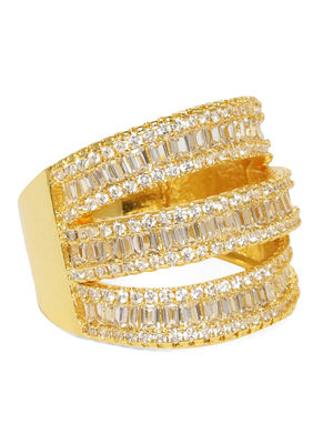 Women Gold-Toned Layered Finger Ring