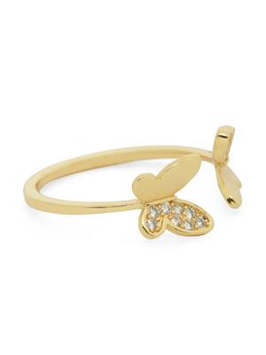 Women Gold-Toned Butterfly Finger Ring