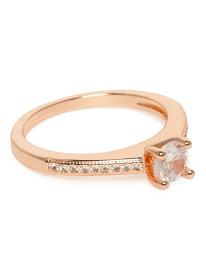 Rose Gold-Toned Stone Studded Finger Ring