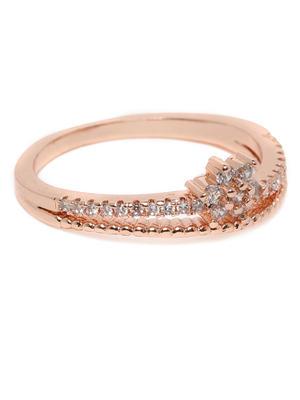 Rose Gold-Toned Stone Studded Floral Finger Ring