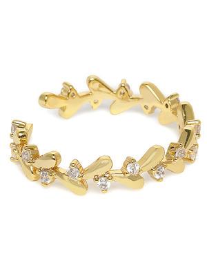 Gold-Toned Stone Studded Leaf Adjustable Finger Ring