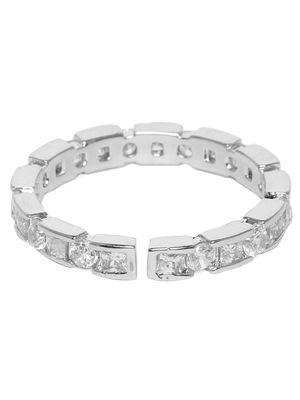 Silver-Toned Rhodium Plated Stone-Studded Adjustable Finger Ring