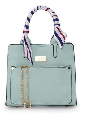 ToniQ Bianca Stylish Womens Mint Handbag with detachachable printed Scarf