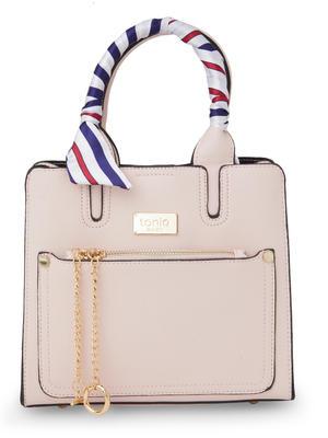 ToniQ Bianca Stylish Womens Pink Handbag with detachachable printed Scarf