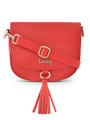 Toniq Red Tassel Flap Sling Bags For women