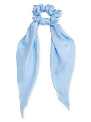 Toniq Baby Blue Satin Hair Scrunchy Scarf Rubber Band For Women