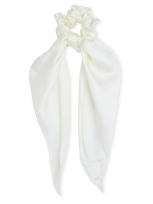 Toniq Off White Satin Hair Scruncyi Scarf Rubber Band For Women