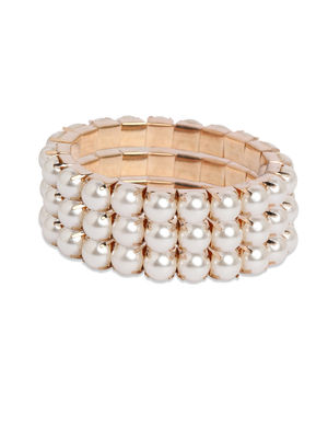 Toniq Set Of 3 Pearl Embellished Bracelet Set For Women