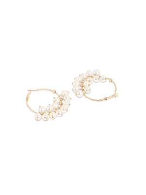 Toniq Chic Pearl Embellished Hoop Earrings For Women