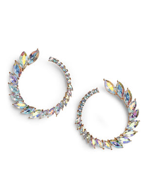 Toniq Chic Gold Stone Embellished Leaf Stud Earrings For Women