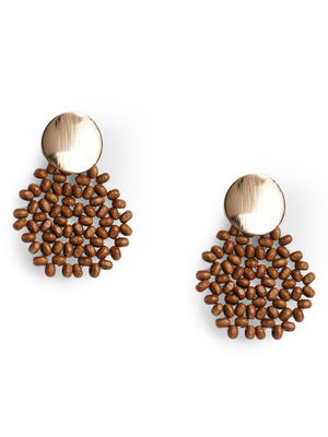 Toniq Brown Seadbead Drop Earrings For Women