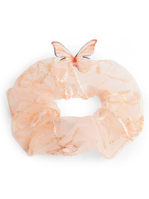 ToniQ Pink Peach Butterfly Scrunchy Rubber Band For Women