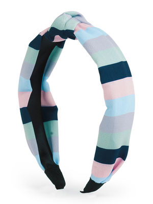 Toniq Rainbow Striped Pastel Color Top Knot Hair Band For Women
