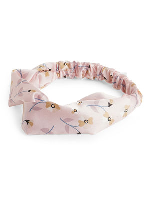 Toniq Gardenia Floral Printed Pink Satin Twisted Elasticated Head Band For Women