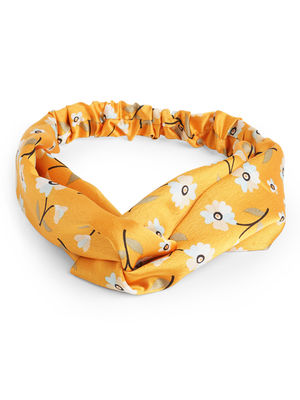 Toniq Gardenia Daisy Printed Yellow Satin Twisted Elasticated Head Band For Women