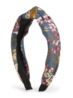 Toniq Navy Bloom Floral Printed Top Knot Hair Band For Women
