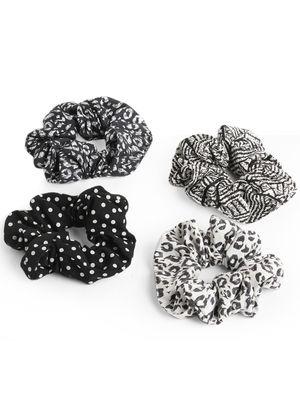 Toniq Set Of 4 Monochrome Black & White Printed Scrunchies Rubber Band For Women