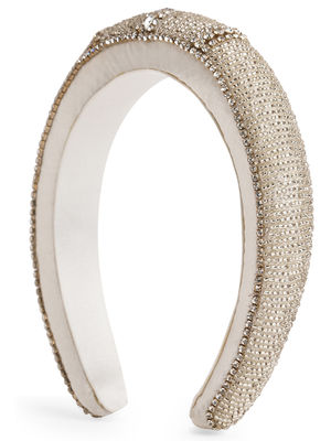 Toniq White And Gold Rhinestones Padded Fashion Hair Band For Women
