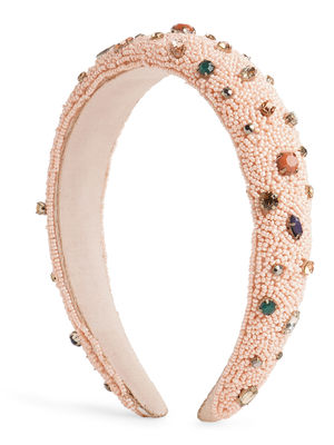Toniq Pastel Pink Beads And Rhinestones Padded Fashion Hair Band For Women