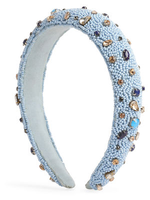 Toniq Pastel Blue Beads And Rhinestones Padded Fashion Hair Band For Women