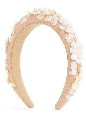 Toniq Pink Sequins Flower Embellished Padded Hair Band For Women
