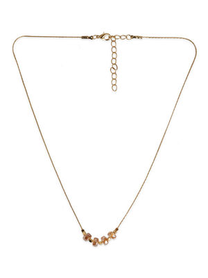 Toniq Dazzling Gold Crystal Embellished Charm Necklace For Women