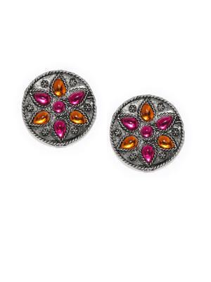 Silver-Toned & Pink Circular Studs