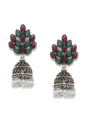 Silver-Toned Dome Shaped Jhumkas