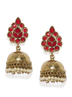 Gold-Toned & Red Dome Shaped Jhumkas