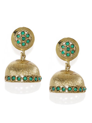 Gold-Toned & Green Dome Shaped Jhumkas