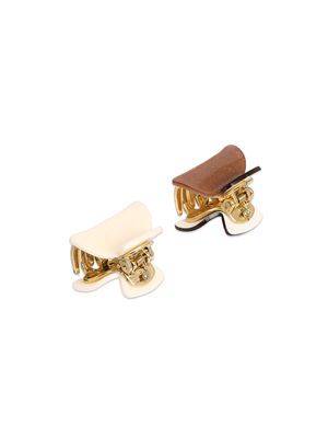 Toniq Set Of 2 Brown and Beige Solid Daily Wear Hair Clips For Women