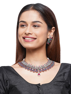 Fida Silver Oxidised Ethnic Traditional  Dancing Peacock Necklace & Earrings Jewellery Gift Set For Women