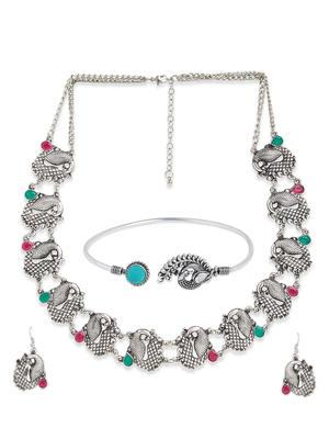 Fida Silver Oxidised Ethnic Peacock Jewellery Gift Set For Women(1 Necklace+1 Pair Earrings+1 Bracelet)