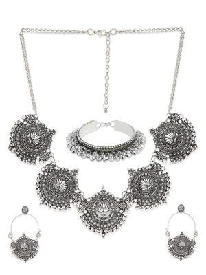 Fida Silver Oxidised Ethnic Statement Jewellery Gift Set For Women(1 Necklace+1 Pair Earrings+1 Bracelet)