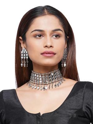 Fida Ethnic Silver Mirror Work Choker Necklace And Earrings Jewellery Gift Set For Women