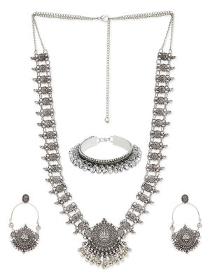 Fida Oxidised Silver Ethnic Statement Jewellery Gift Set For Women(1 Necklace+1 Pair Earrings+1 Bracelet)