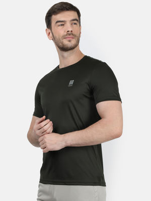 Forest Green Plain Round Neck Tshirt