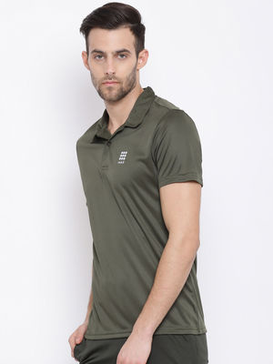 Forest Green Plain Collar Tshirt