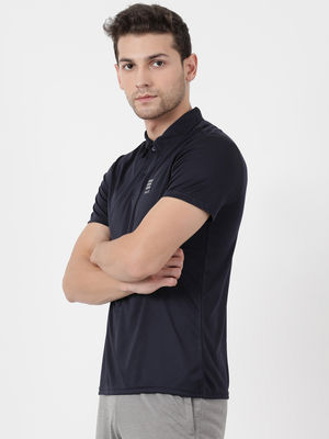 Navy Plain Collar Tshirt