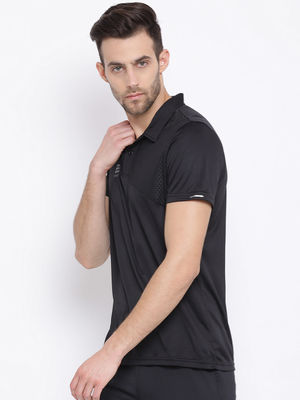 Black Plain Collar Tshirt