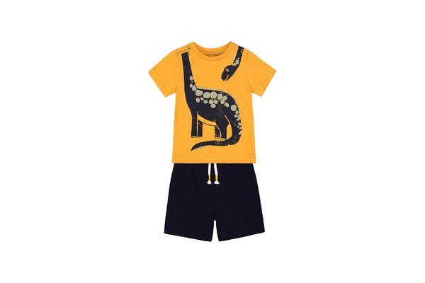 Yellow Dinosaur Shorts And T-Shirt Set