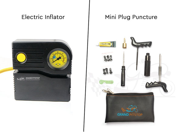 Grandpitstop Combo of Electric Tyre Inflator Air Compressor Pump & Tubeless Tyre Puncture Repair Kit with Mushroom Plugs (Mini Plug) for Car and Bike