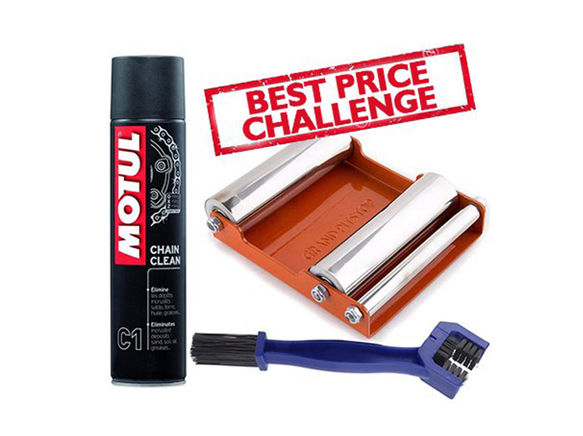 Free Chain Cleaning Brush with Motul C1 Chain Clean (400 ml) and Paddock Stand Replacement - GRoller Medium (Bikes < 220 kgs) for Chain Cleaning and Lubrication
