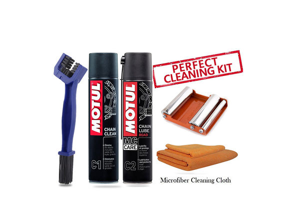 GRoller medium with Chain Clean Brush, Motul C1 C2 400 ml and Microfiber Cloth