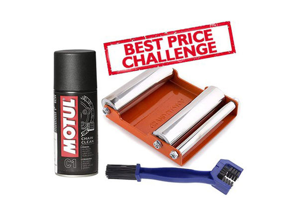 Free Chain Cleaning Brush with Motul C1 Chain Clean (150 ml) and Paddock Stand Replacement - GRoller Medium (Bikes < 220 kgs) for Chain Cleaning and Lubrication