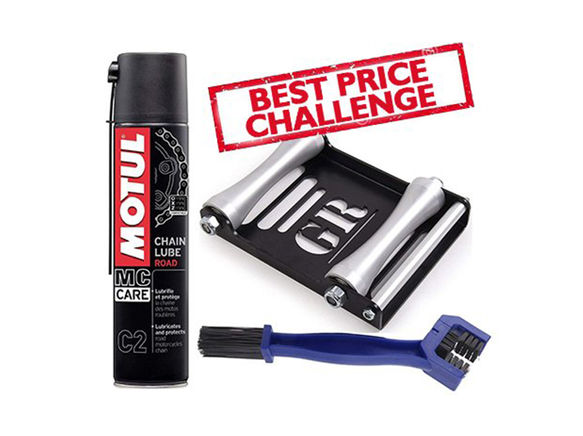 Free Chain Cleaning Brush with Motul C2 Chain Lube (400 ml) and Paddock Stand Replacement - GRoller Large (Bikes < 270 kgs) for Chain Cleaning and Lubrication